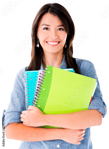 Woman holding notebooks
