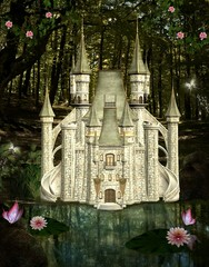 Enchanted castle in the middle of the forest