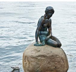 Little mermaid sculpture in Copenhagen seafront
