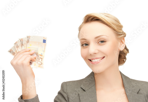 businesswoman with euro cash money