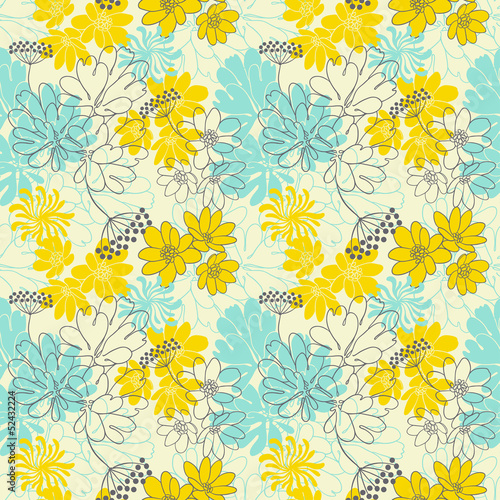 Abstract floral seamless pattern.
