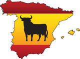 Spanish Flag Country Silhouette and Symbol Combination