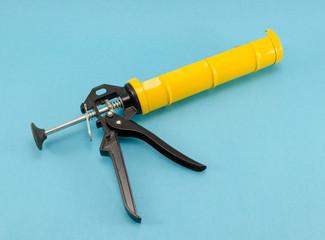 silicone glue hand work gun tool blue