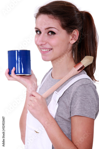 Painter with blue pot and brush