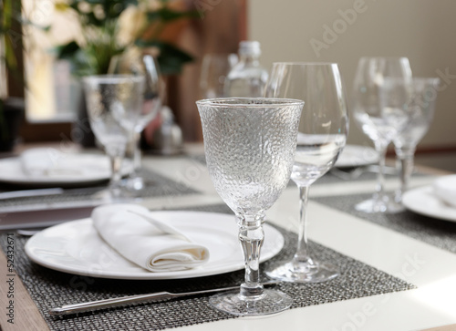 Place setting in an expensive restaurant