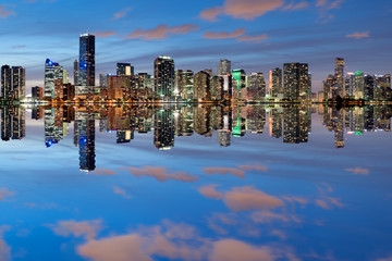 Miami Skyline at dusk with great reflections
