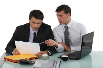Two businessmen working