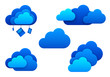Cloud computing icons. Isolated. Cloud computing idea concept.
