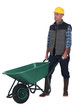 Man with empty wheelbarrow