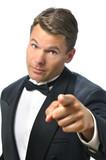 Tux man points finger poster