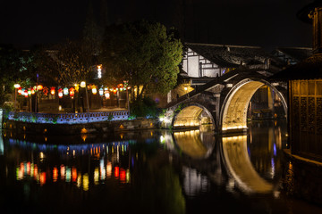 Ancient Watertown in China at night, Wuzhen