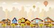 Flat city life (retro colors)
