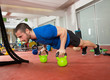 Crossfit fitness man push ups Kettlebells pushup exercise