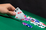 Colorful poker chips and two Ace