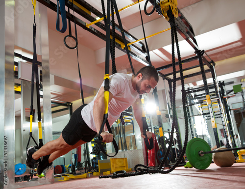 Crossfit fitness TRX push ups man workout