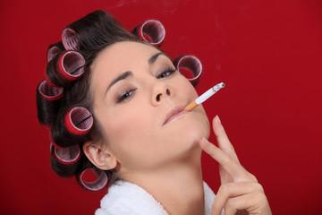 Smoking women in the salon