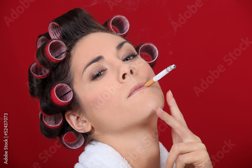Smoking women in the salon
