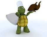 tortoise chef with a chicken