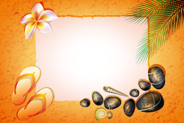 background with stones, Flip-flops, flower and palm