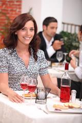 Woman having meal