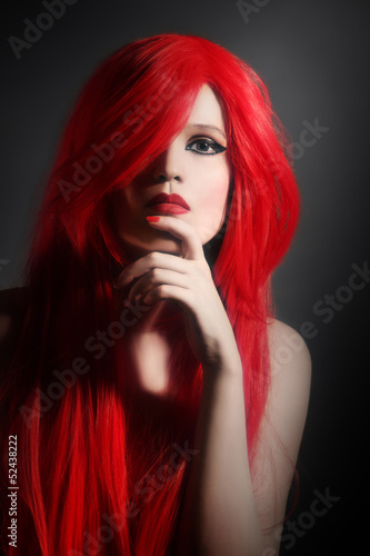 Red hair woman hairstyle portrait