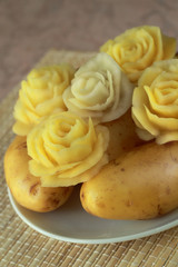 Flowers made from a potato