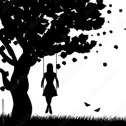 Girl on swing silhouette