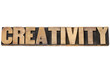 creativity word in wood type