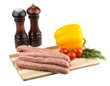 raw sausages and ingredients