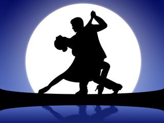 Ilustração - Casal a dançar o tango ao luar