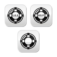 Life belt, help, s.o.s. vector buttons set