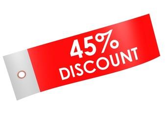 Discount 45 percent label