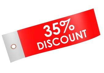 Discount 35 percent label