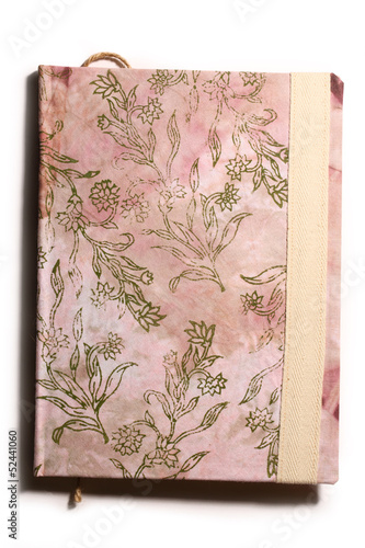 Silk batik book with abstract flowers