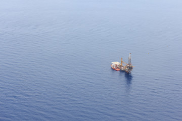 Aerial View of Tender Drilling Oil Rig in The Ocean