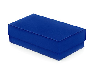 Blue gift box on white background.