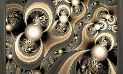 Pattern from being shone spheres and curves. Computer generated