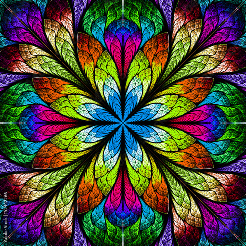 Multicolor beautiful fractal flower. Computer generated graphics