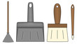 Besom, shovel and brushes