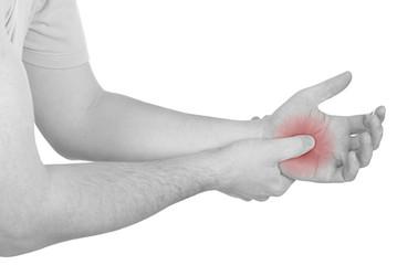 Acute pain in a man palm
