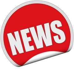 Sticker rot rund cu NEWS