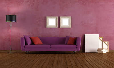 Purple vintage living room