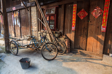 Traditional chinese street view with bikes
