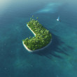 Island Alphabet. Paradise tropical island in form of letter J