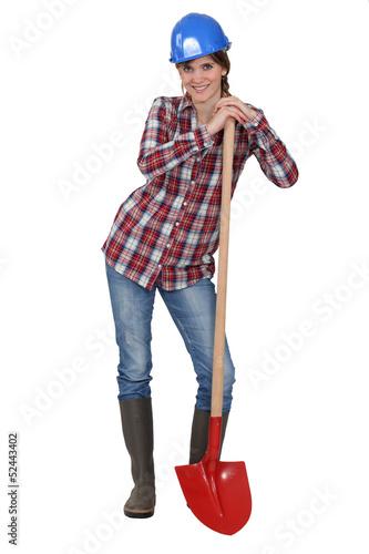 Tradeswoman with a spade