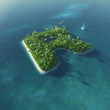 Island Alphabet. Paradise tropical island in form of letter R