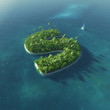 Island Alphabet. Paradise tropical island in form of letter S