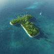 Island Alphabet. Paradise tropical island in form of letter T