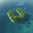 Island Alphabet. Paradise tropical island in form of letter U