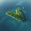 Island Alphabet. Paradise tropical island in form of letter V